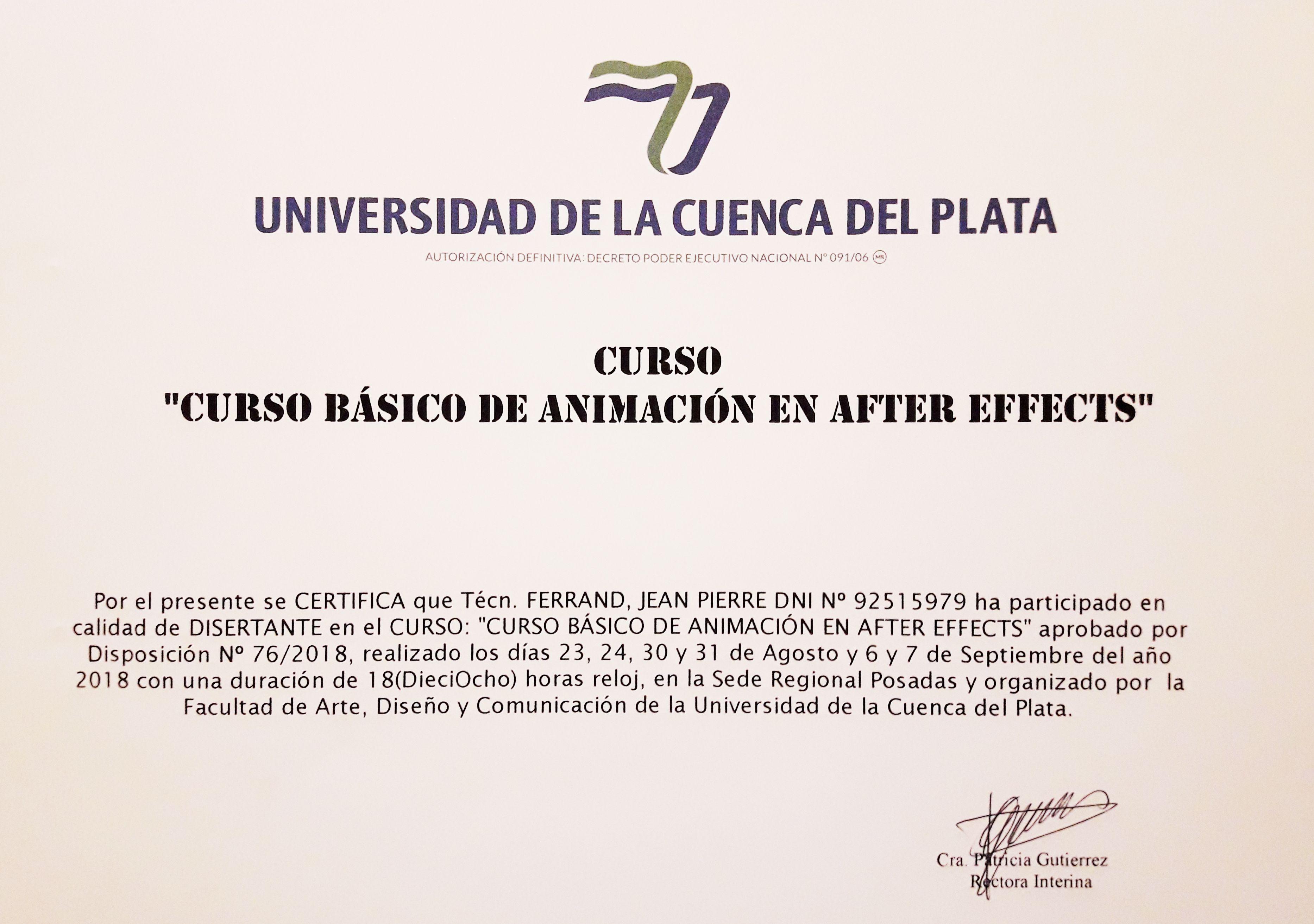After Effects producido y dictado para Cuenca del Plata 2018